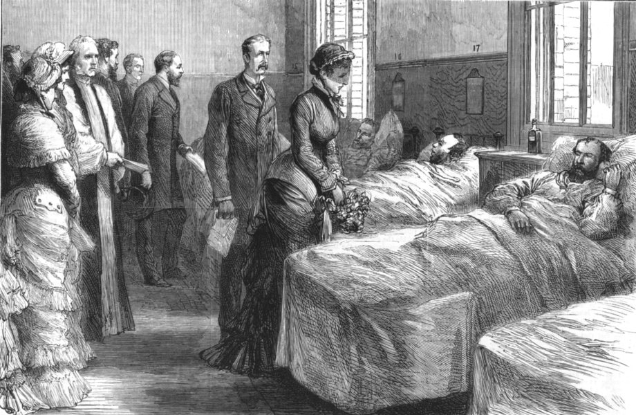 Associate Product LONDON. Opening of new Marylebone hospital Prince & Princess Of Wales, 1881