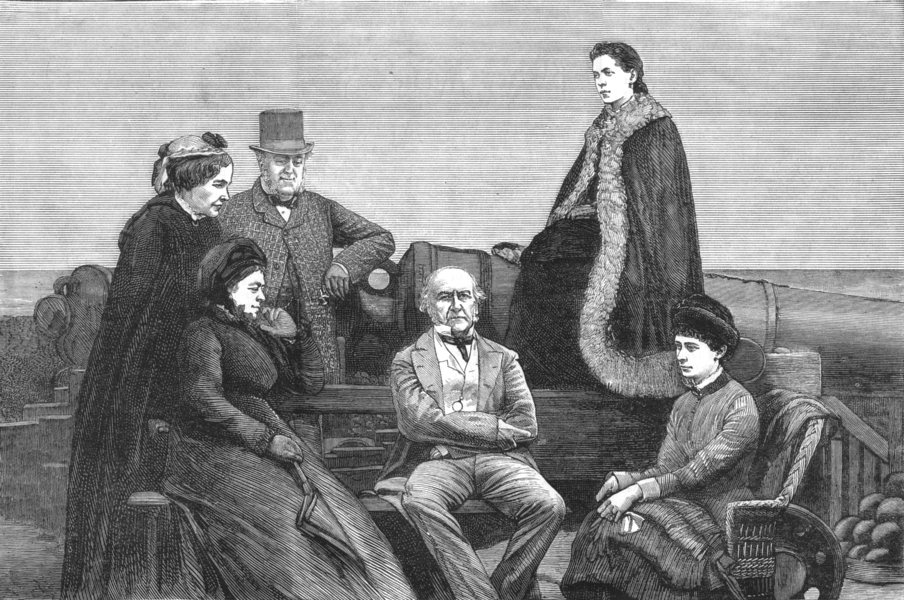 Associate Product KENT. Gladstone's visit to Deal Castle-A Portrait group Ramparts, print, 1881