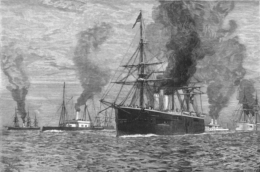 Associate Product VILLEFRANCHE. The British fleet at Villa Franca, antique print, 1880