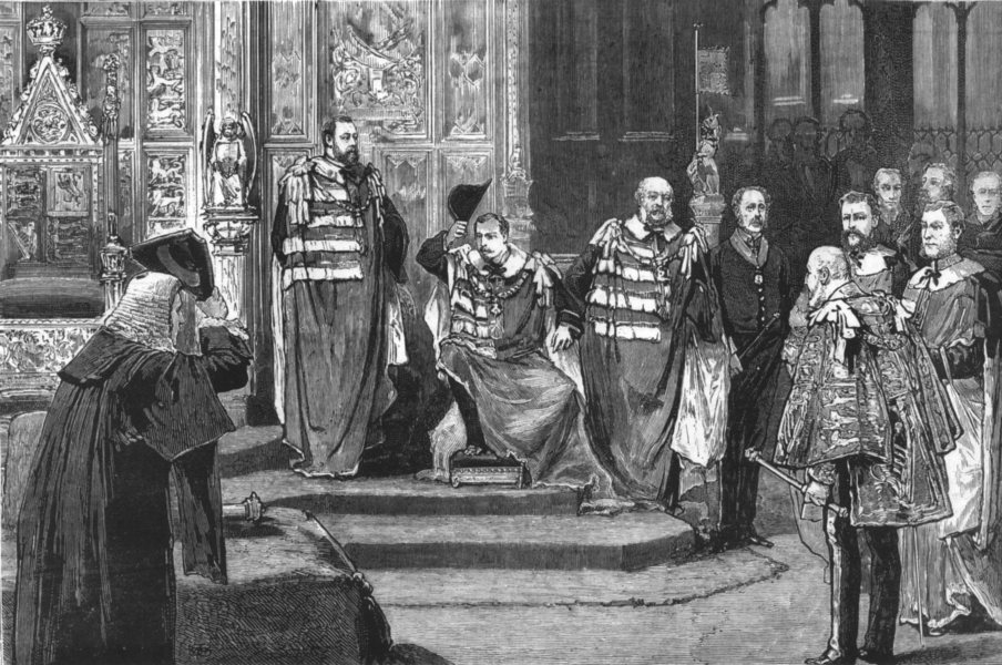 Associate Product ROYALTY. Installation of Prince Leopold Duke Albany House of Lords, print, 1881