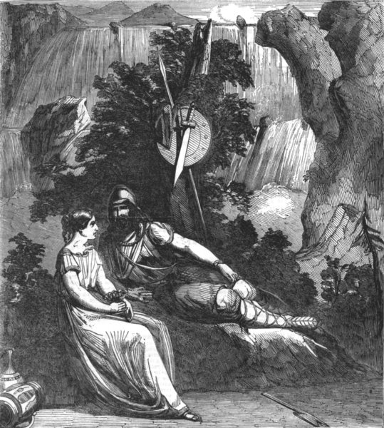 Associate Product LONDON. Scene from the new play of Ingomar, at Drury-lane theatre, print, 1851