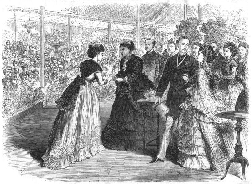 Associate Product REGENTS PARK. Princess Mary of Teck giving prizes Royal Botanic Society, 1870
