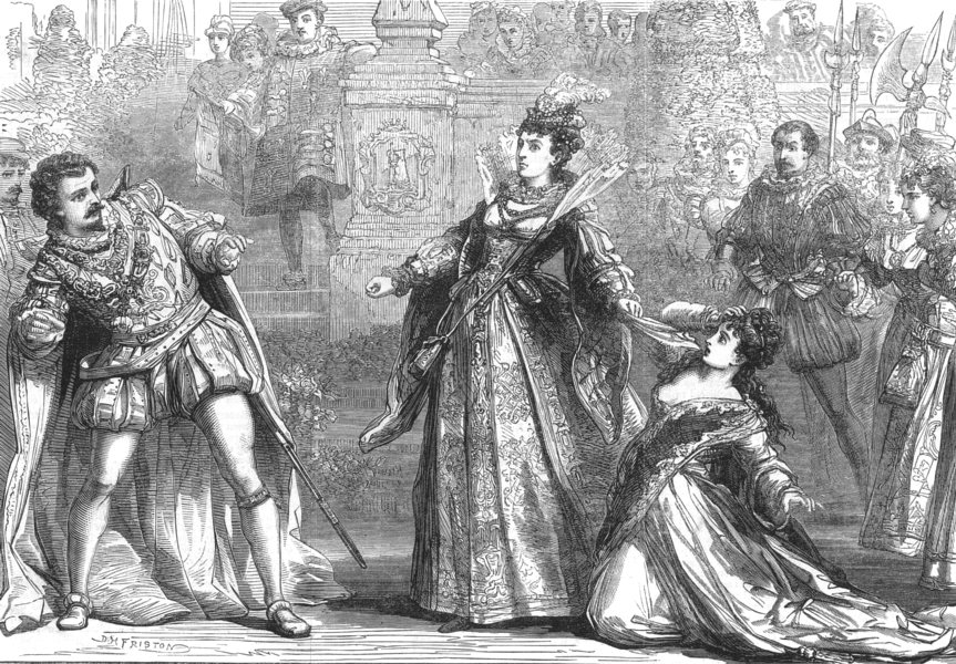 Associate Product LONDON. Scene from Amy Robsart, at Drury lane theatre, antique print, 1870