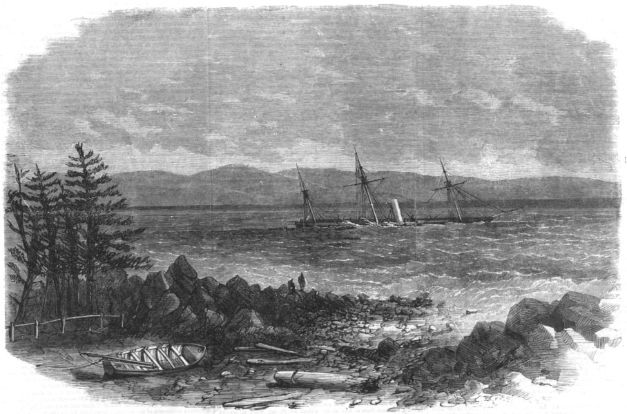 Associate Product CANADA.Wreck of Bohemian,Montreal ocean company's steam-packet,coast Maine, 1864