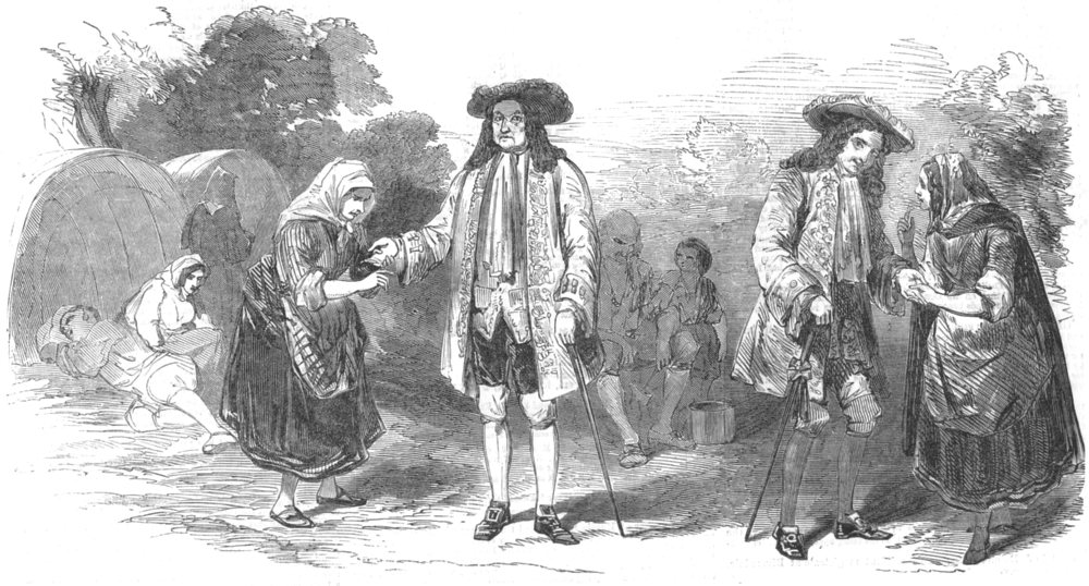 Associate Product LONDON. Scene from Roger De Coverley, at the Olympic Theatre, old print, 1851