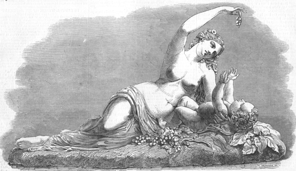 Associate Product CHILDREN. Ino and the Infant Bacchus, in marble, antique print, 1849