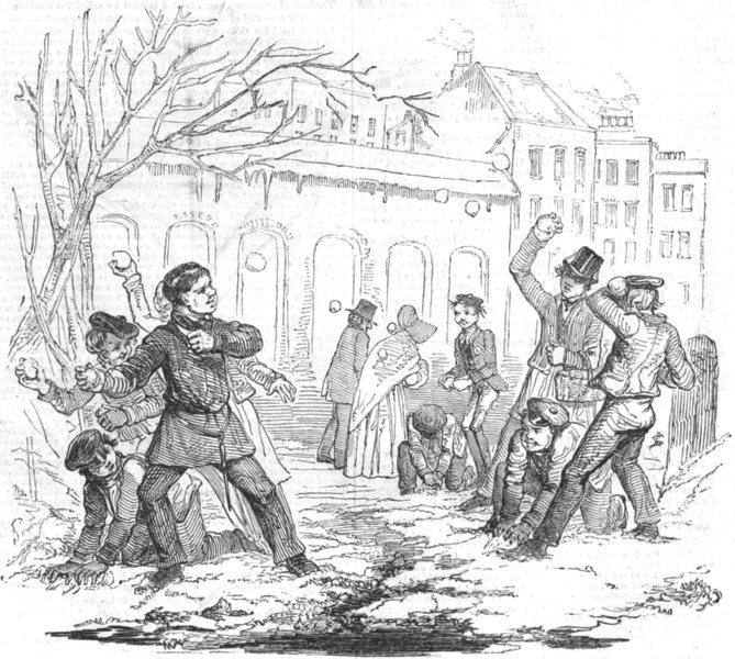 Associate Product WINTER SPORTS. Snow-Balling, antique print, 1844