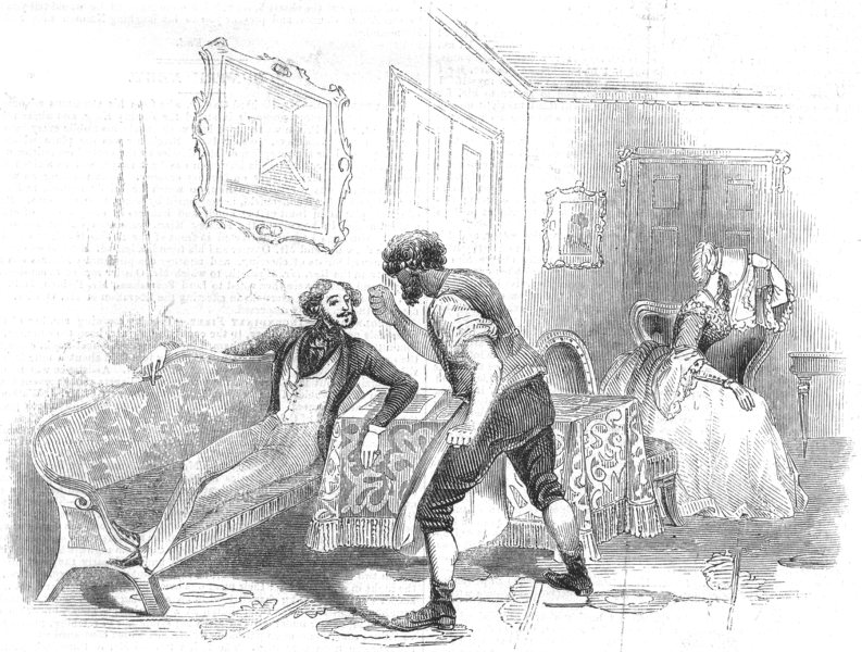 Associate Product LONDON. Scene from Used up, at the Haymarket Theatre, antique print, 1844
