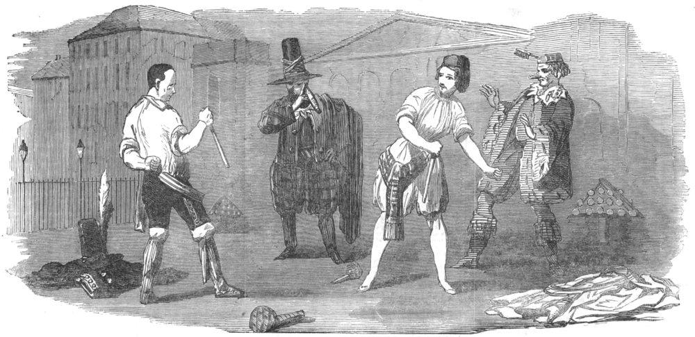 Associate Product LONDON. Haymarket Theatre new Burlesque of Gemini-Combat, antique print, 1852