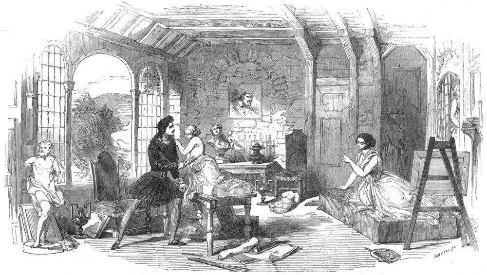 Associate Product HAYMARKET THEATRE. Miss Vandenhoff's new play of Woman's Heart-Act I, 2, 1852