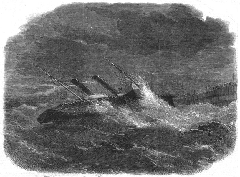 Associate Product CALAIS.Prince Frederick William drifting ashore harbour,post striking pier, 1859