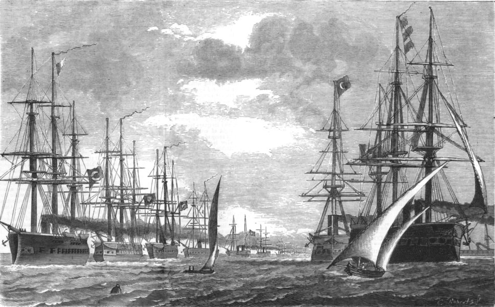 Associate Product EGYPT. War east; Turko-Egyptian fleet Alexandria for Istanbul with Troops, 1877