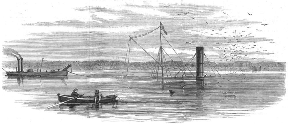Associate Product LONDON. Wreck of the steamer Batavier in the Thames, near Barking, print, 1872