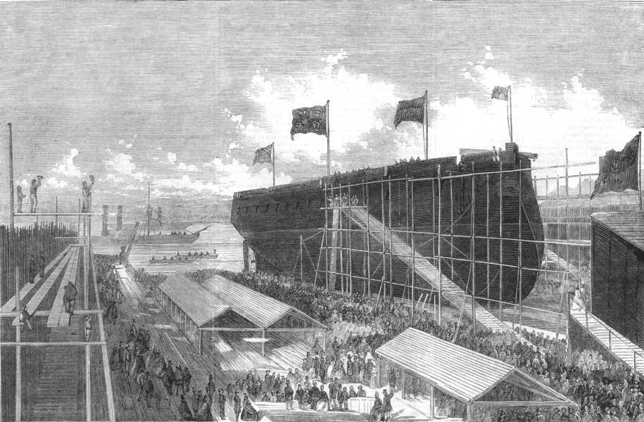 Associate Product LONDON. Launch. Valiant ironclad-Ram at Admiralty Yd, Isle of Dogs, print, 1863