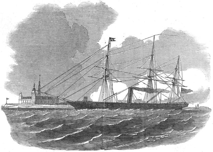 Associate Product DENMARK. HMS Miranda, pioneer of, Saluting Kronborg Castle, Elsineur, 1854