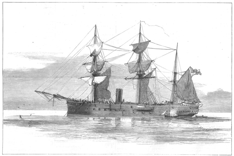 Associate Product IRELAND. The Collision in the Irish channel-H M S Vanguard at Sea, print, 1875