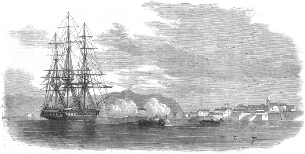 Associate Product SPAIN. Saluting the Euryalus at La Coruña, antique print, 1858