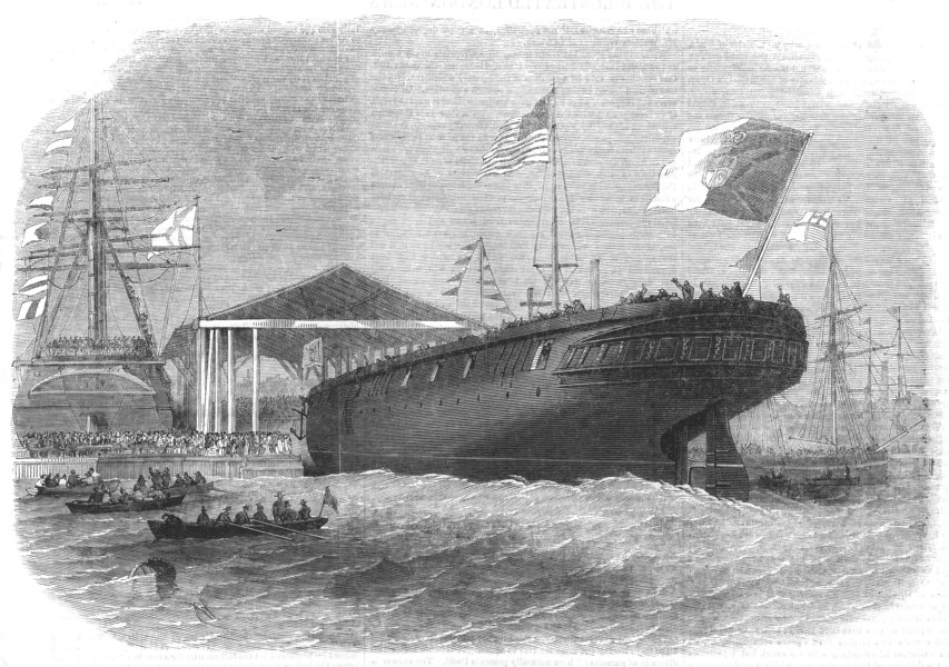 Associate Product LONDON. Launch of the Portuguese screw-corveite Sagres, at Limehouse, 1858