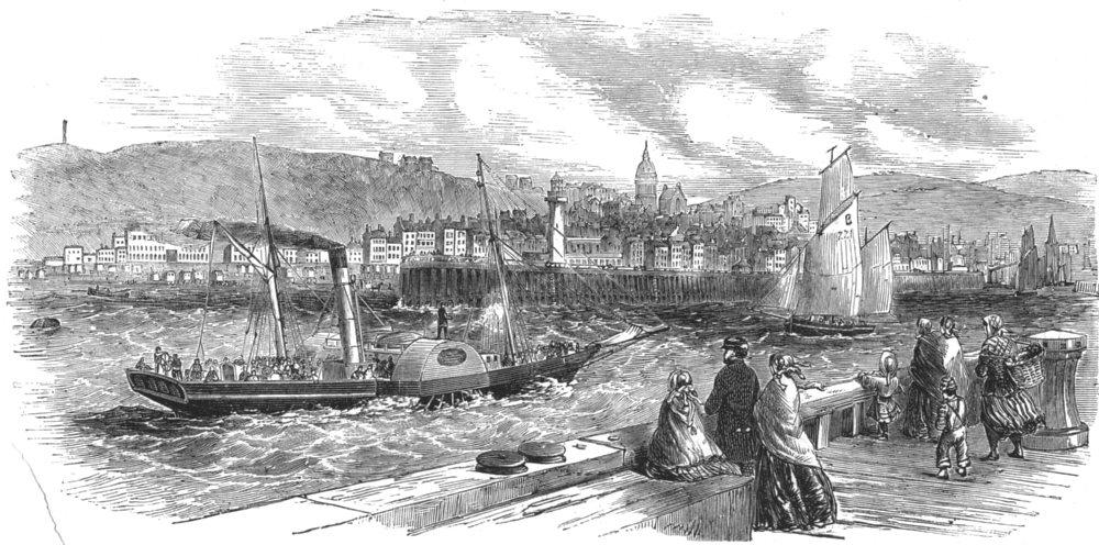 Associate Product PAS-DE-CALAIS. Entrance to Boulogne-sur-mer, antique print, c1853