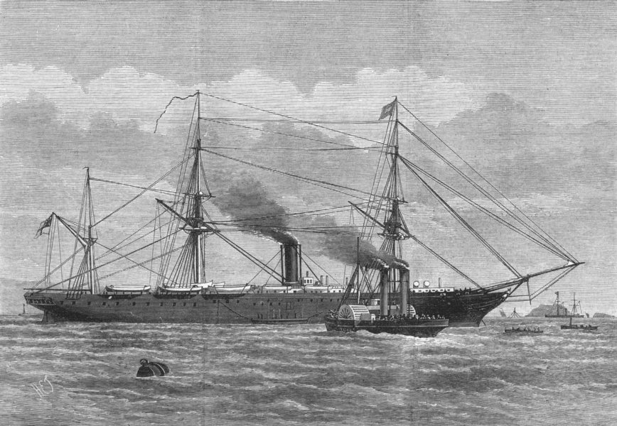 Associate Product DEVON. Steam-Tug at Plymouth taking Troops to the Himalaya for the Ghana, 1873