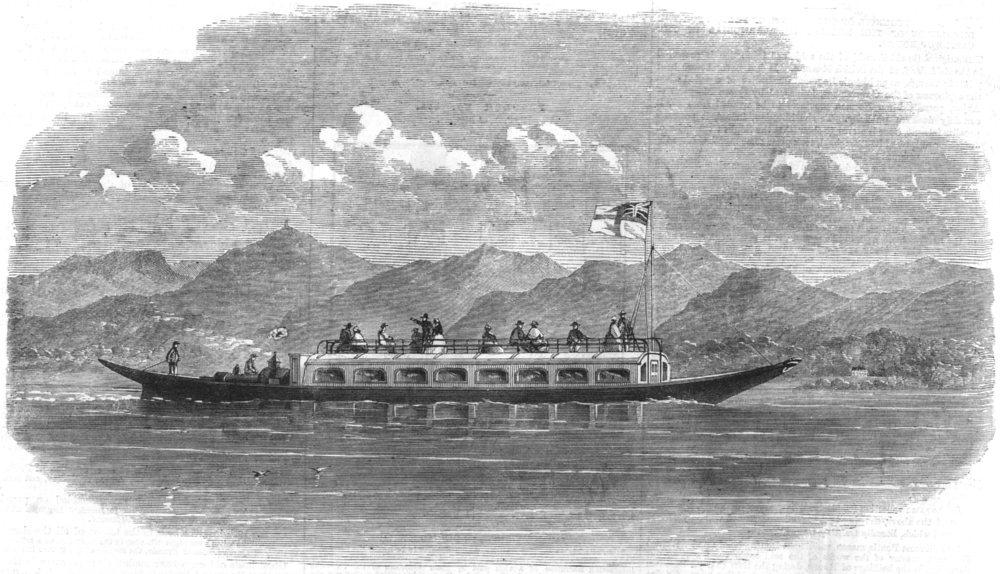 Associate Product CUMBRIA. Steam-Gondola for Coniston Lake, antique print, 1860