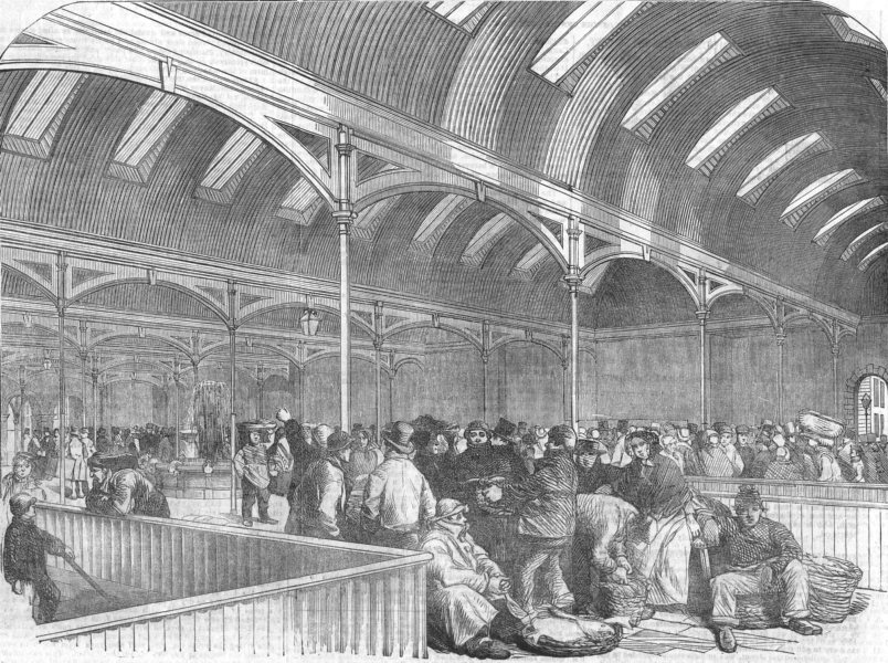 Associate Product LONDON. Billingsgate New Market, antique print, 1854
