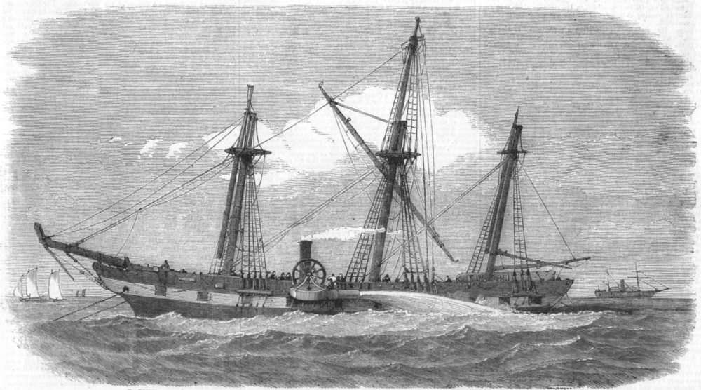 Associate Product RIVER MERSEY. Raising American ship Isaac Wright, means Palmer's pump, 1858