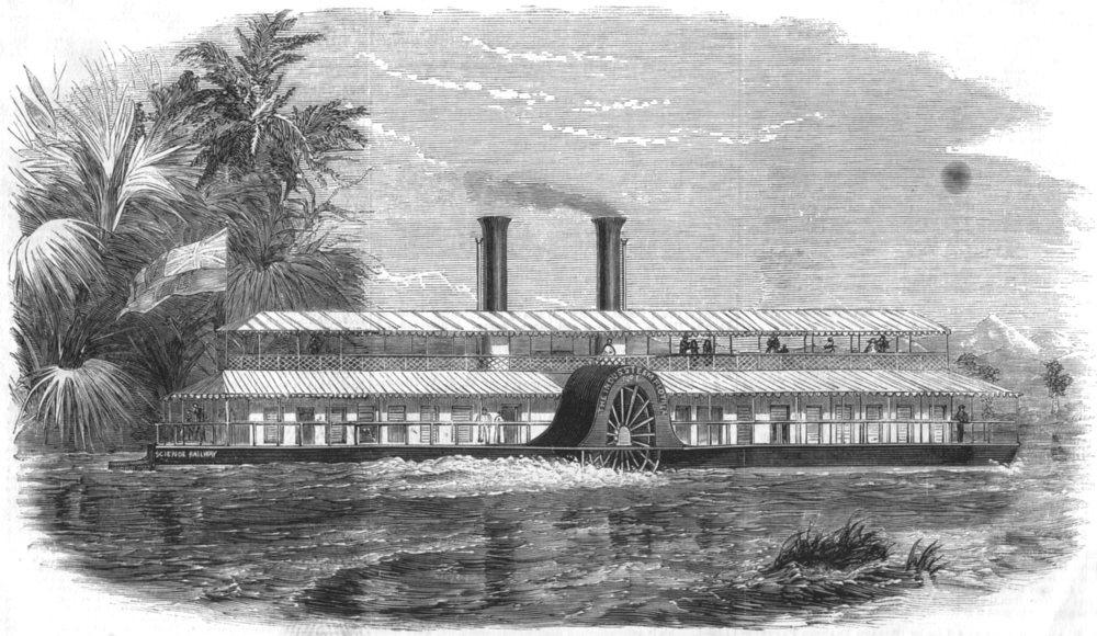 Associate Product PAKISTAN. Model steamer, built for the Indus steam Flotilla company, print, 1859