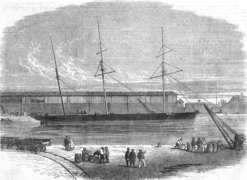 Associate Product LIVERPOOL. Alexandra-ship in Dock, seized Order of Govt, antique print, 1863