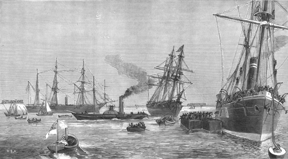 Associate Product EGYPT. 1st transport ships at Port Said with Indian Troops, antique print, 1878