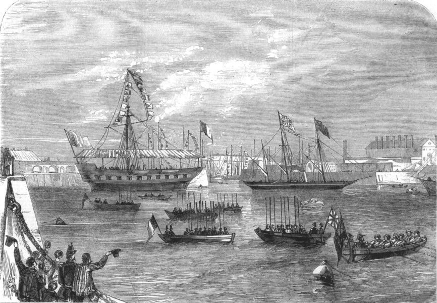 Associate Product BUILDINGS. The Fairy entering the Arsenal, antique print, 1858