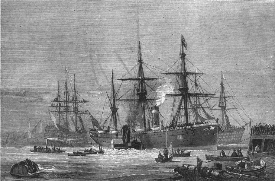 Associate Product SHIPS. Black watch-crew of Victory cheering Sarmatian; ; Duke Wellington, 1873