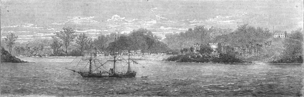 Associate Product GHANA. Ashanti war-HMS Argus guarding Dix cove attacks of Enemy, old print, 1874