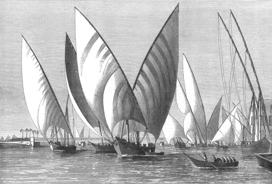 Associate Product EGYPT. The River at Boulak Bridge, Cairo, with Dahabeahs passing, print, 1874