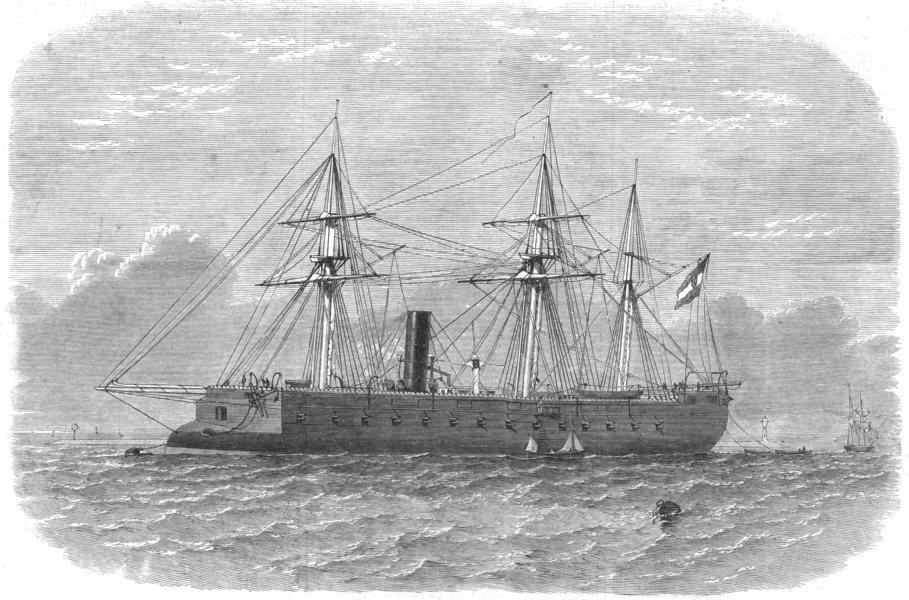 Associate Product DEVON. The Kaiser Max, Austrian Steam-Ram, in Plymouth sound, old print, 1865