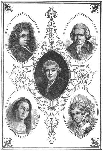 DRURY LANE CELEBRITIES. Betterton;Mrs Pritchard;Garrick;Macklin;Robinson, c1880
