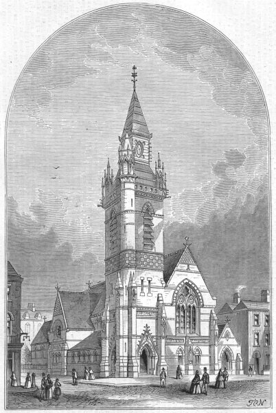 Associate Product LONDON. The Smithfield Martyrs Memorial Church, antique print, 1871