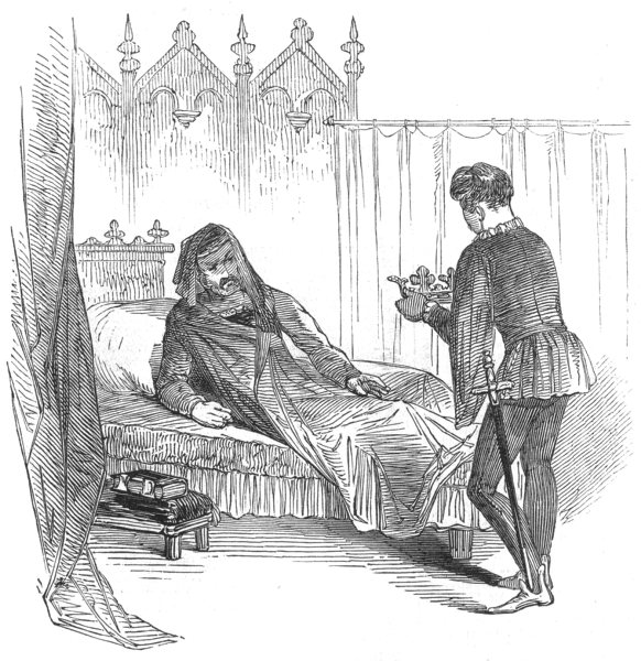 Associate Product SHAKESPEARE. Covent-garden Theatre. Death of Henry IV- part 2, old print, 1847