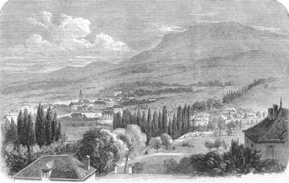 Associate Product MONACO. The Town of Monaco as viewed from the Sea, antique print, 1860