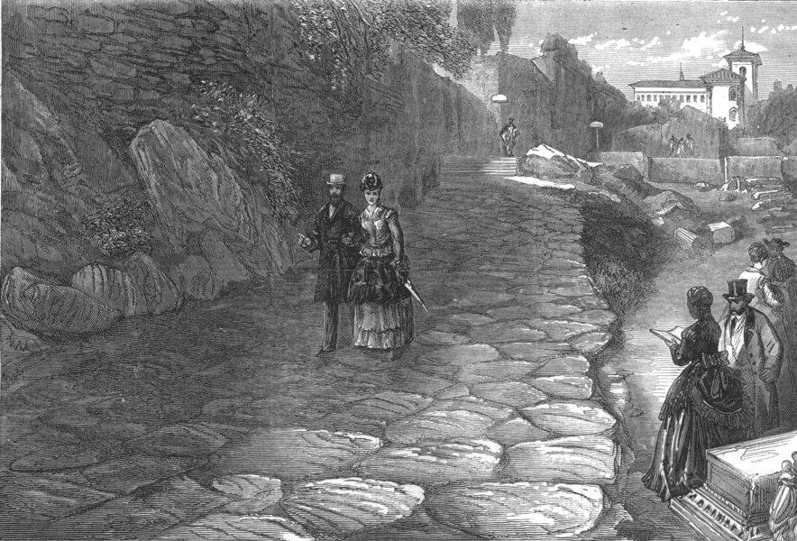 Associate Product ROME. The Nova Via, Palatine Hill, antique print, 1872