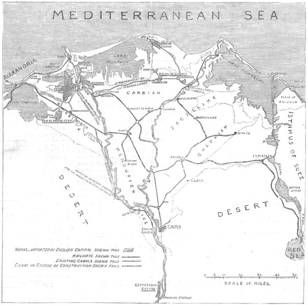 Associate Product EGYPT. Sketch map Delta of Nile, Irrigation & Land Reclamation system, 1882