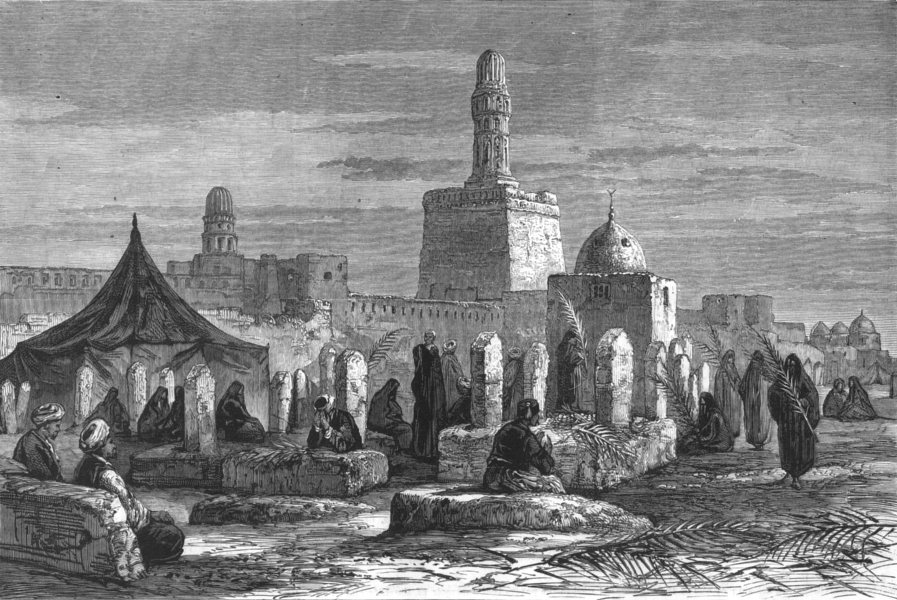 EGYPT. A Cemetery at Cairo, Visited by Mourners in the Bayram, old print, 1882