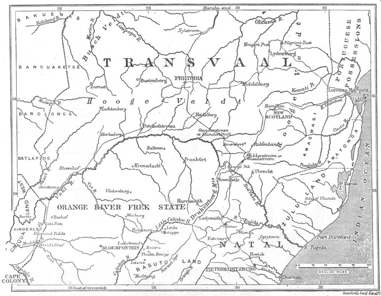 Associate Product SOUTH AFRICA. Map of the Transvaal and adjacent provinces, 1881