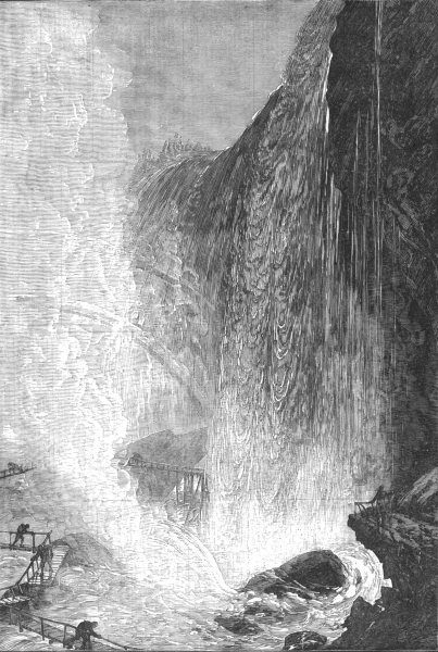 Associate Product CAVES. Picturesque America. Cave of the winds, Niagara falls, old print, 1881