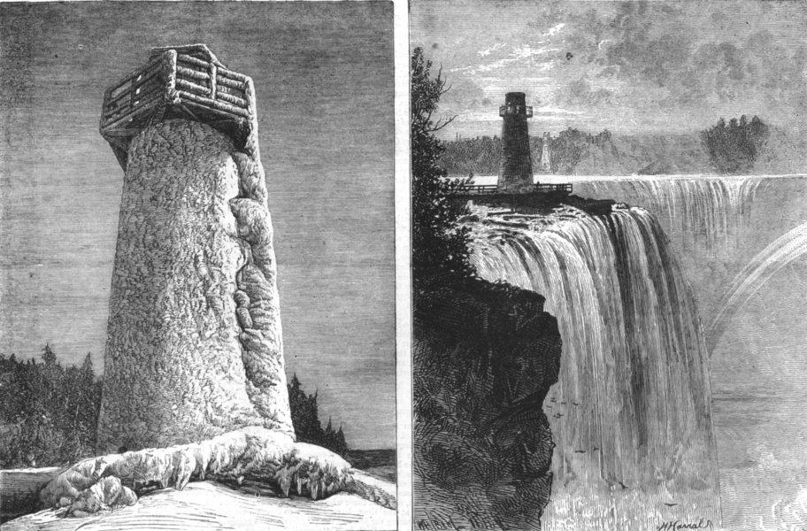 Associate Product NIAGARA FALLS. Terrapin Pt Winter (blown up) ; Horseshoe Fall Rock, print, 1873