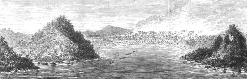 Associate Product GHANA. Ashanti war-Aquidah, Shelled HMS Druid, Aug 28, 1873, antique print, 1873
