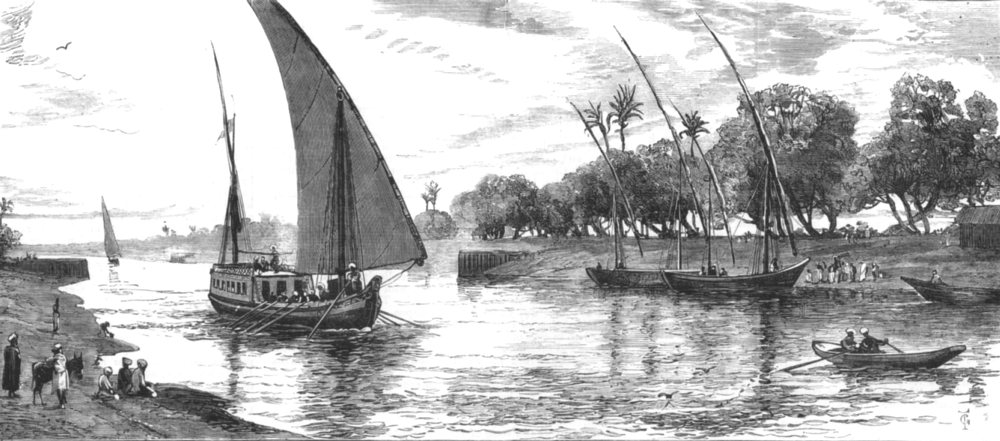 Associate Product EGYPT. Atfeh canal, which connects Alexandria with Nile, antique print, 1882