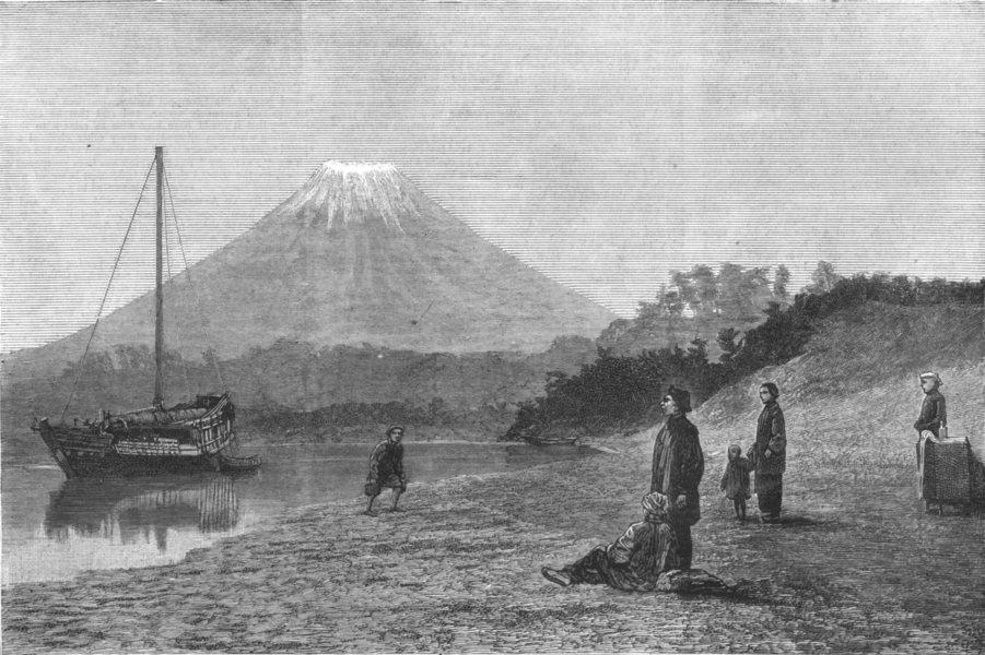 Associate Product FUJIYAMA. Volcano Fusiyama, the Sacred mountain of Japan, antique print, 1881