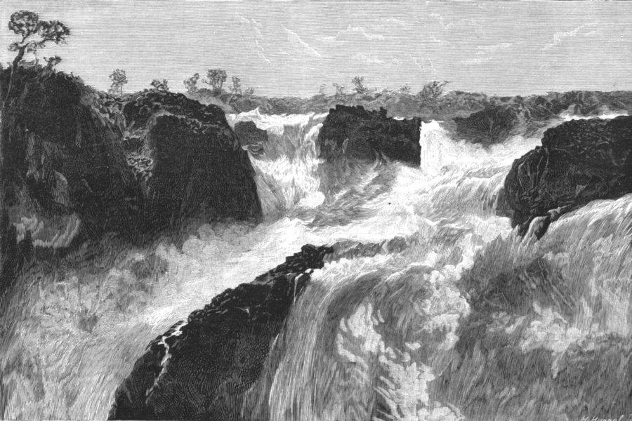 Associate Product BRAZIL. Paulo Affonso falls. Lowest fall, looking upwards, antique print, 1881