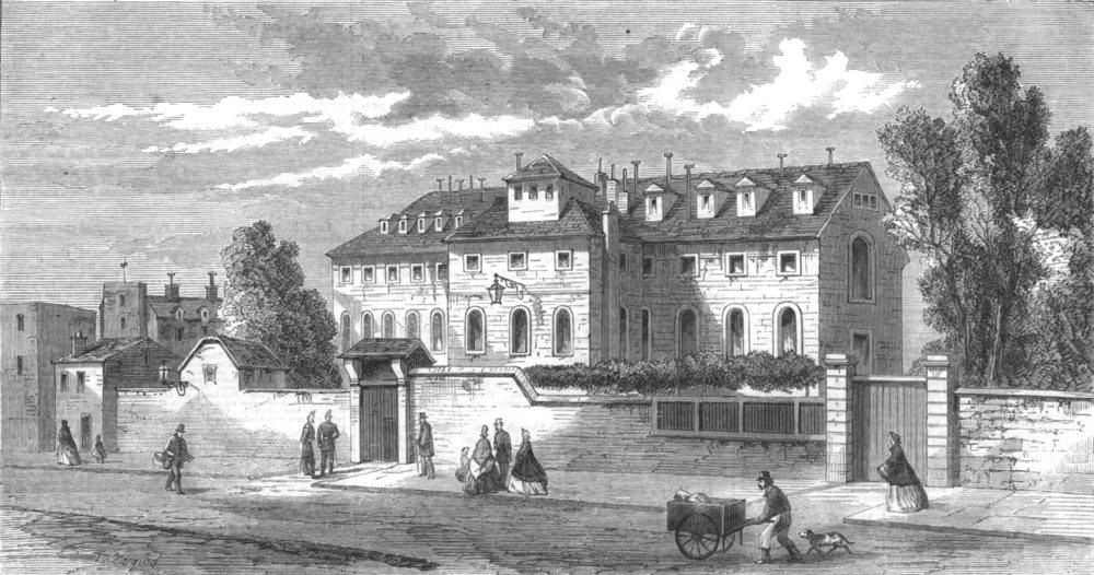 Associate Product PARIS. Paris Demolitions-The Hotel Des Haricots; Rue De La Gare, old print, 1864